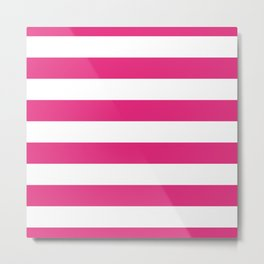 Dark Pink Lemonade and White Wide Cabana Stripes Metal Print