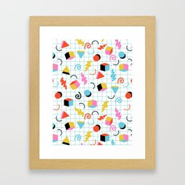 Clutch - memphis 80s style retro throwback cubes geometric triangles 1980's pattern Framed Art Print
