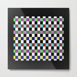 Retro 3 - Abstract, multicoloured, bold, chekkered, checkered pattern Metal Print