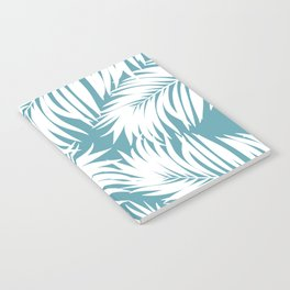 Palm Tree Fronds White on Soft Blue Hawaii Tropical Décor Notebook