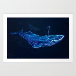 Digital Smoke Art - Free Flowing I - Blue Whale Art Print