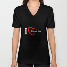 Hampton. I love my favorite city. Unisex V-Neck