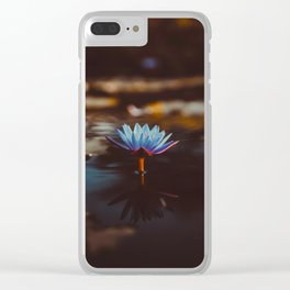Purple & Blue Lotus Lily Flower Vintage Photography Floral Pond Clear iPhone Case