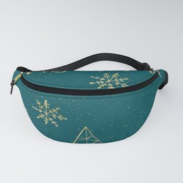 Merry Christmas Teal Gold Fanny Pack