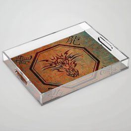 Tribal Dragon Head In Octagon With Dragon Chinese Characters Acrylic Tray