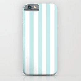 Duck Egg Pale Aqua Blue and White Wide Vertical Beach Hut Stripe iPhone Case