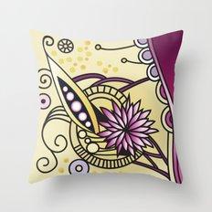 Ornate square zentangle, Naples Yellow Hue Throw Pillow