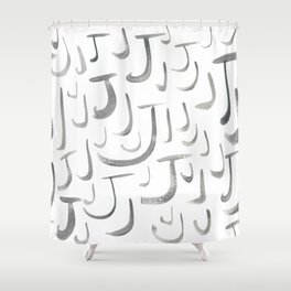 Watercolor J's - Grey Gray Shower Curtain