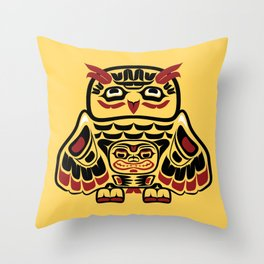 Owl, North-American art stylization Throw Pillow