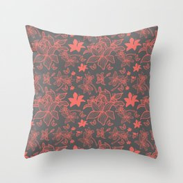 Flowers In Coral Red Throw Pillow