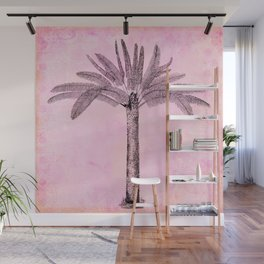 Pink Retro Palmtree Wall Mural