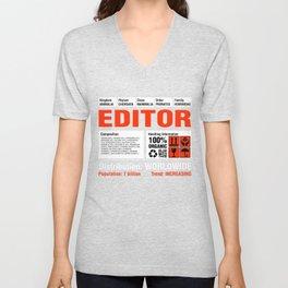 Funny Editor T Shirt Unisex V-Neck