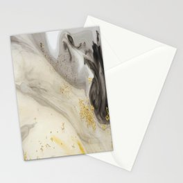 Marbled Paint Swirls in Cream, Gray and Gold Stationery Cards