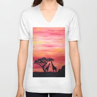 africa V-neck T-shirts featuring Africa by Monica Georg-Buller