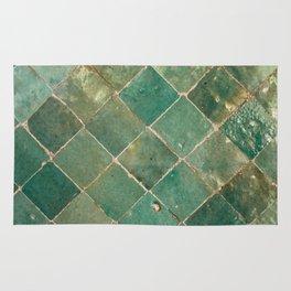 Green Moroccan Pattern Tile Rug