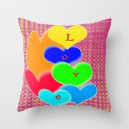 coloured love hearts Throw Pillow