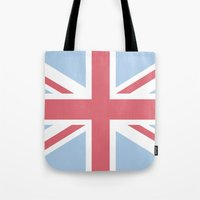union jack Tote Bags featuring Union Jack by Alesia D