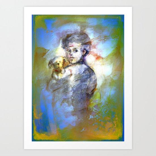 Boy with dog. Art Print