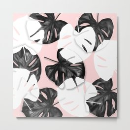Modern black white monstera tropical leaf on pastel blush pink Metal Print