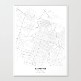 Savannah, United States Minimalist Map Canvas Print