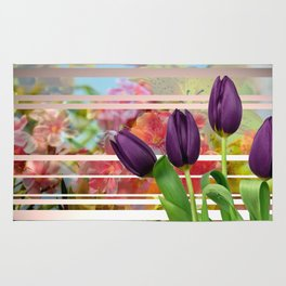 Flower Garden & Purple Tulips Stripes Collage Rug