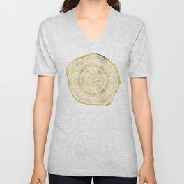 Paper Birch – Gold Tree Rings Unisex V-Neck