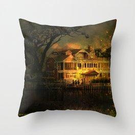 Spooky Boathouse Throw Pillow