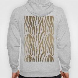Chic faux gold white modern zebra animal print pattern Hoody