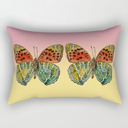 Himalayan Fritillary Butterfly - Peach, Yellow, Orange, Emerald Green Rectangular Pillow