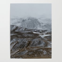 Layers of snowy montains Poster