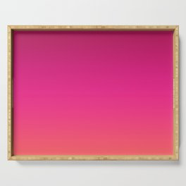 Gradient Burgundy Pink Coral Ombre Pattern Red Orange Neon Watercolor Trendy Texture  Serving Tray