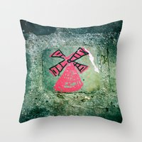 moulin rouge Throw Pillows featuring Moulin by Camile O'Briant