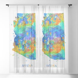 Arizona Map Sheer Curtain