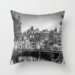 AMSTERDAM Idyllic impression from Singel | Monochrome Throw Pillow