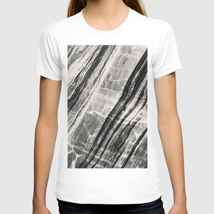 Abstract Marble - Black & Cream T-shirt