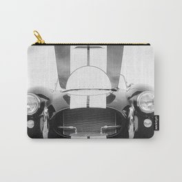 Close Up Photo of Classic Sports Car in Black and White Carry-All Pouch