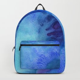 Abstract blue background. Painting with watercolors. Backpack