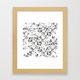 Birds on branches, Vintage, Bird, Nature Framed Art Print