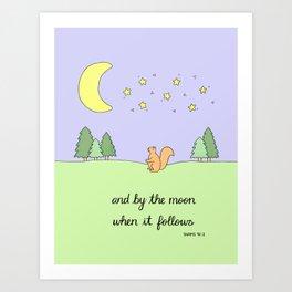 By the Moon - Childrens Islamic Quran Nursery Art for Kids Art Print