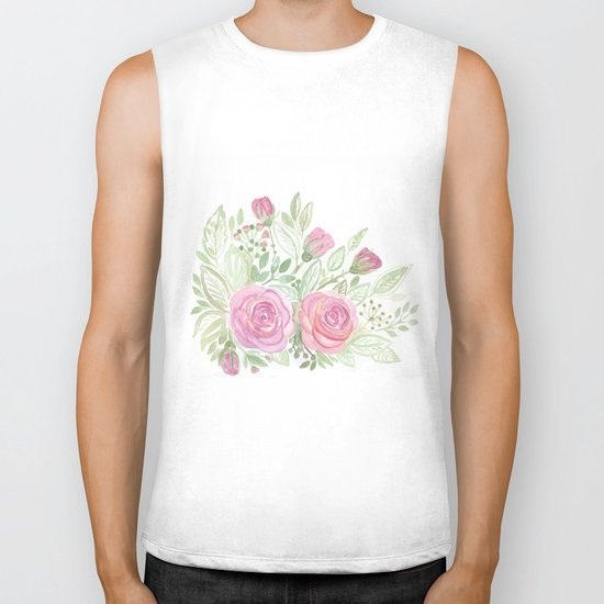 Watercolor . A bouquet of roses . Biker Tank