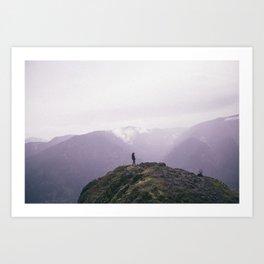 clouded peaks Art Print
