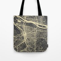 portland Tote Bags featuring Portland Map by Map Map Maps