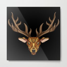 Deer Park- MI_Brown on Black Metal Print