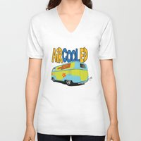 vw bus V-neck T-shirts featuring VW Camper Drag Bus by VelocityGallery