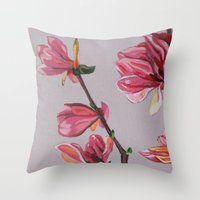 magnolia Throw Pillows featuring Magnolia by Marjolein