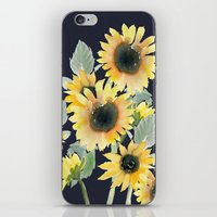 craftberrybush iPhone & iPod Skins featuring Sunflower watercolor  by craftberrybush