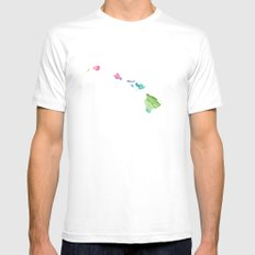 Typographic Hawaii in Spring Mens Fitted Tee MEDIUM White