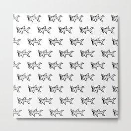 Black and White Sharks Metal Print