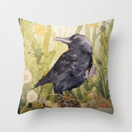 Canuck the Crow Throw Pillow