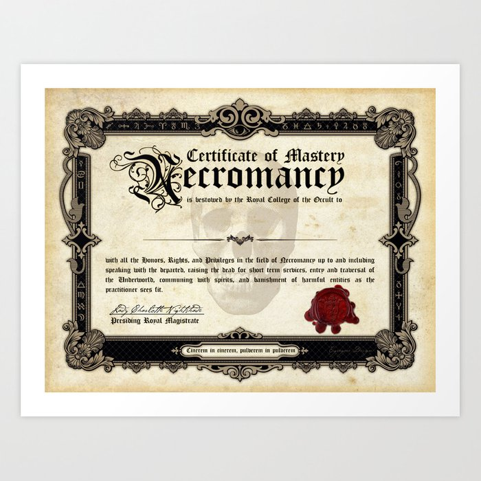 Certificate Of Necromancy Art Print By Egregoredesign Society6